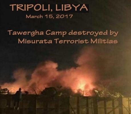 LA MILICIA TERRORISTA DE MISRATAH INCENDIA EL CAMPAMENTO DE TAWERGA EN TRIPOLI